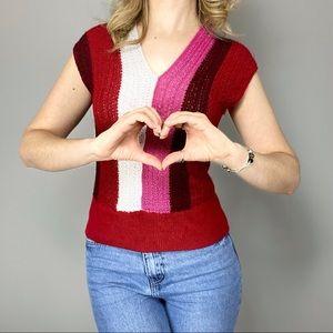 Vintage stripe crochet knit neck top.